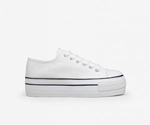 Zapatillas tela plataforma blancas
